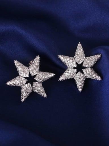 E0931 Brass Cubic Zirconia Star Dainty Cluster Earring