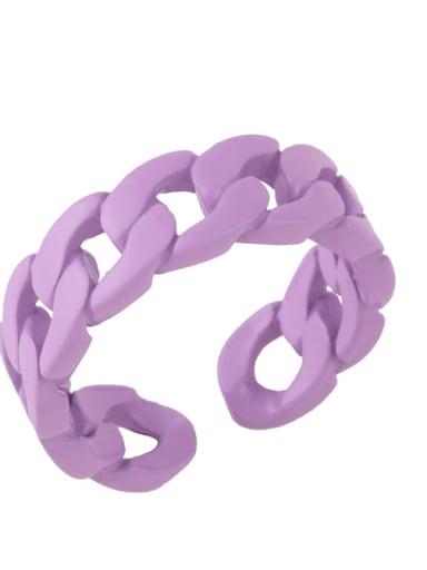 violet Brass Geometric Hip Hop Band Ring