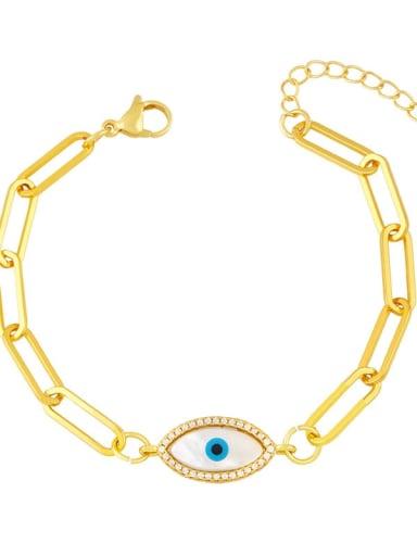 D Brass Cubic Zirconia Enamel Evil Eye Vintage Link Bracelet