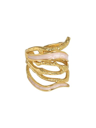 18K gold [14 adjustable] 925 Sterling Silver Enamel Geometric Vintage Stackable Ring
