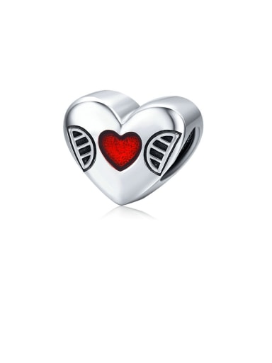 925 Sterling Silver With  White Gold Plated Minimalist Heart Pendants Diy Accessories
