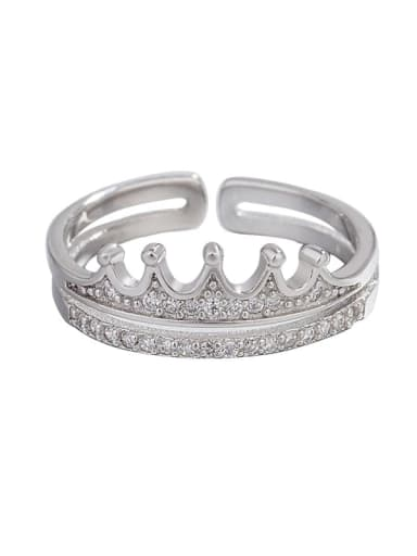 925 Sterling Silver Cubic Zirconia Crown Double Minimalist Stackable Ring