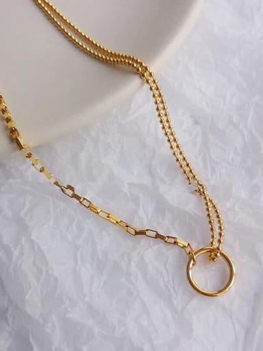 Titanium Hollow  Round Minimalist Beaded Necklace