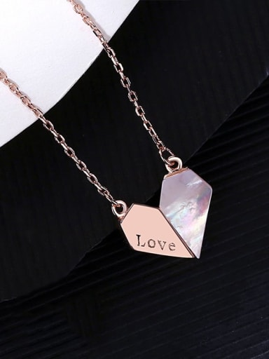 RG 14I08 925 Sterling Silver Shell Heart Minimalist Necklace