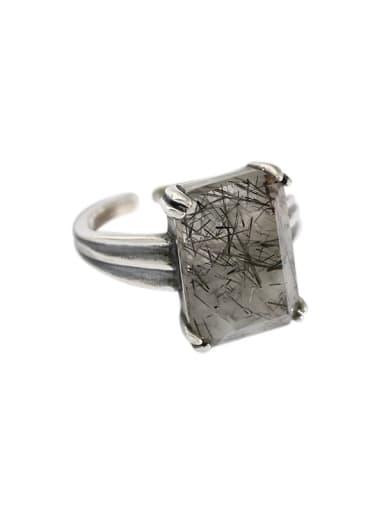Black hair crystal 925 Sterling Silver Obsidian Geometric Vintage Band Ring