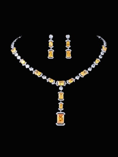 yellow Brass Cubic Zirconia  Luxury Geometric Earring and Necklace Set