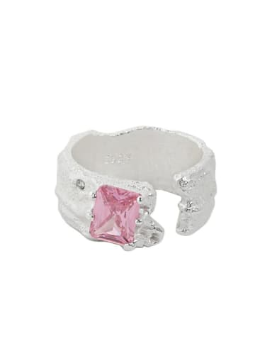 Silver [powder stone] 925 Sterling Silver Cubic Zirconia Irregular Vintage Band Ring