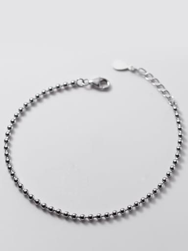 S925 silver bracelet 0.2cm 925 Sterling Silver Bead Round Minimalist Beaded Bracelet