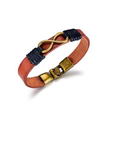 1395- Brown Titanium Black Leather Number Vintage Band Bracelets
