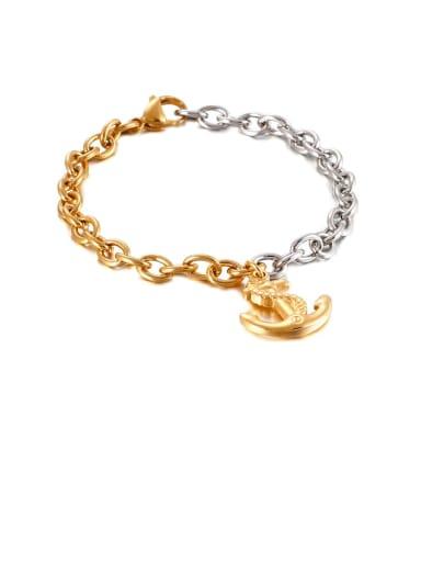 gold Stainless Steel Irregular Anchor Vintage Chain  Bracelet