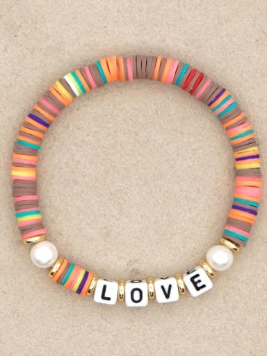QT B200144D Stainless steel Freshwater Pearl Multi Color Polymer Clay Letter Bohemia Stretch Bracelet
