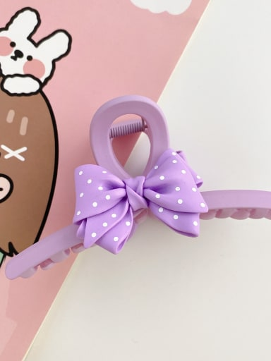 Purple 13cm Alloy Resin Silk Trend Bowknot  Jaw Hair Claw