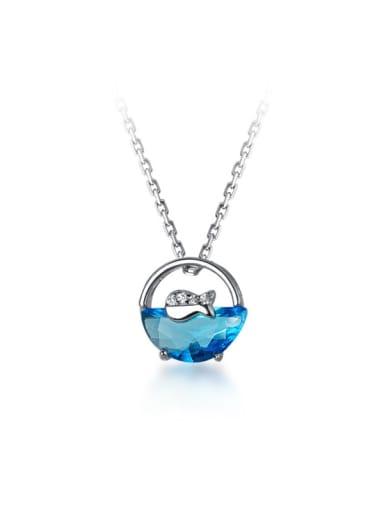 925 Sterling Silver Rhinestone Fish Cute Necklace