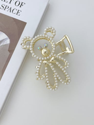 Alloy Imitation Pearl Trend  Hollow Bear  Jaw Hair Claw