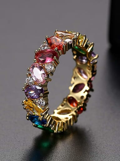 Gold US 6 Copper Cubic Zirconia Multi Color Geometric Dainty Band Ring