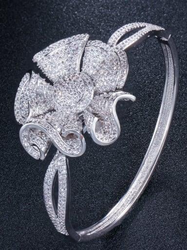 platinum Brass Cubic Zirconia Flower Luxury Band Bangle