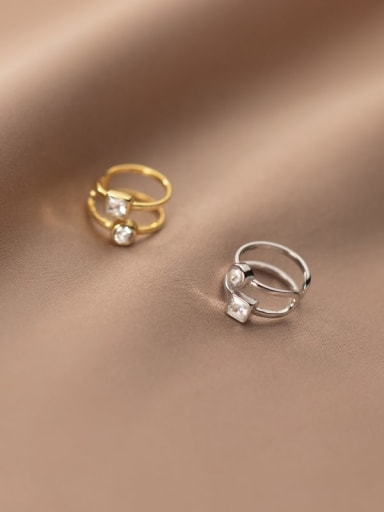 925 Sterling Silver Rhinestone Geometric Minimalist Clip Earring