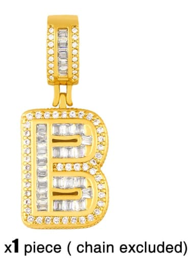 B (excluding chain) Brass Letter  Cubic Zirconia Vintage Pendant