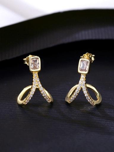 925 Sterling Silver Cubic Zirconia Irregular Minimalist Stud Earring