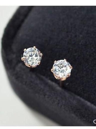Titanium Cubic Zirconia White Round Minimalist Stud Earring