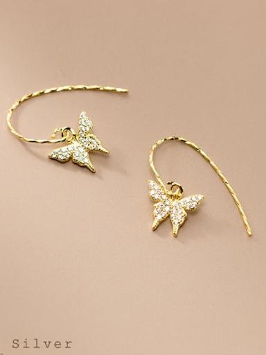 925 Sterling Silver Cubic Zirconia Butterfly Minimalist Hook Earring