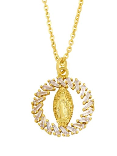 D Brass Cubic Zirconia Heart Hip Hop Regligious Necklace