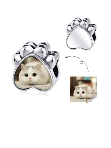 925 Sterling Silver With  White Gold Plated Minimalist Cat Paw Photo Pendants Diy Accessories