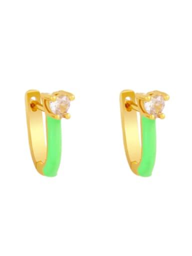 green Brass Multi Color Enamel Heart Vintage Huggie Earring