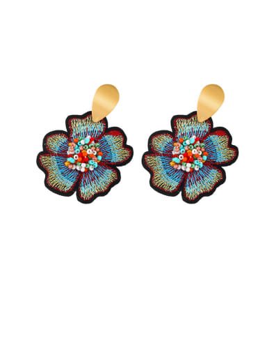colour Alloy Resin Flower Ethnic Drop Earring