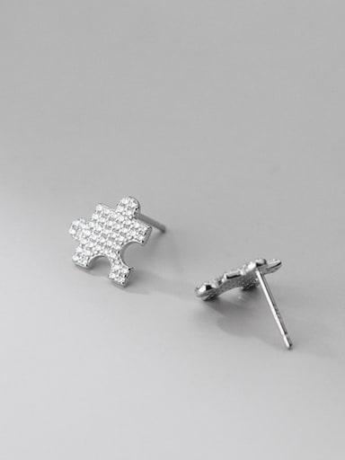 silver 925 Sterling Silver Cubic Zirconia Geometric Minimalist Stud Earring