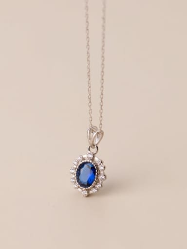 Silver 925 Sterling Silver Cubic Zirconia Oval Vintage Necklace