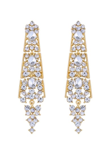 golden Alloy Rhinestone Geometric Bohemia Drop Earring