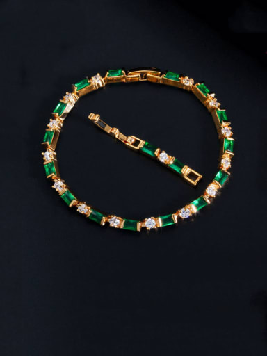 green Copper With Gold Plated Fashion Geometric Bracelets