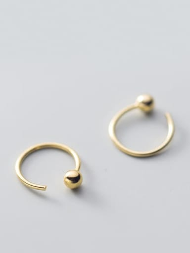 pearl ear hook gold small 10mm 925 Sterling Silver Smooth Geometric Minimalist Stud Earring