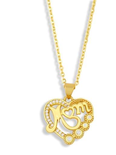 C Brass Cubic Zirconia Heart Minimalist Letter Pendant Necklace