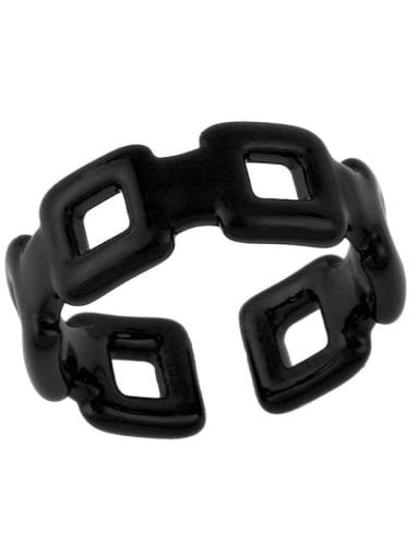 black Brass Enamel Geometric Minimalist Band Ring