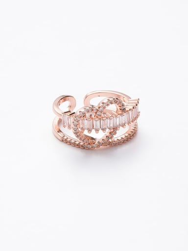A gold Zinc Alloy Cubic Zirconia White Free Size Ring