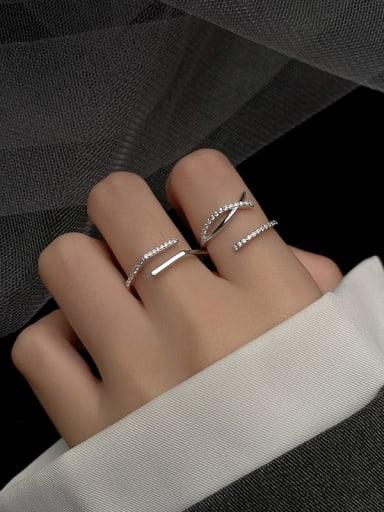 925 Sterling Silver Rhinestone Cross Minimalist Stackable Ring
