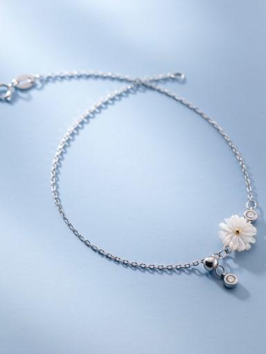 925 Sterling Silver Shell  Flower Minimalist Anklet