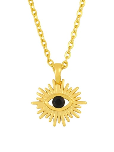 black Brass Cubic Zirconia Evil Eye Vintage Necklace