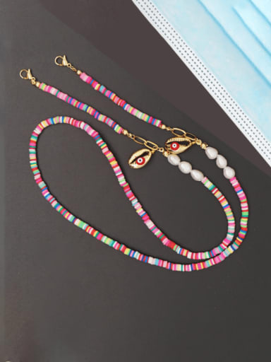 ZZ N200070D Stainless steel Shell Multi Color Polymer Clay Mouth Bohemia Necklace