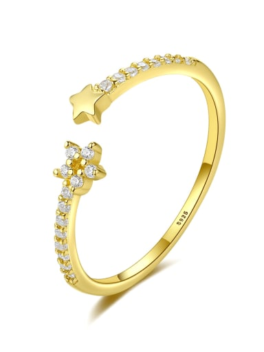 925 Sterling Silver Cubic Zirconia Star Minimalist Band Ring