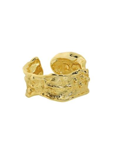 18K gold [No. 13 adjustable] 925 Sterling Silver Irregular Vintage Band Ring