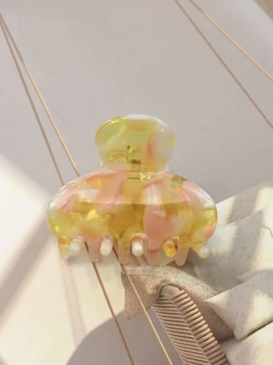 Pink yellow Cellulose Acetate Minimalist Geometric Alloy Jaw Hair Claw