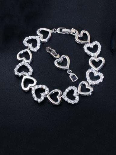 Copper Cubic Zirconia Heart Dainty Bracelet