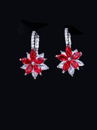gules Brass Cubic Zirconia Flower Luxury Huggie Earring
