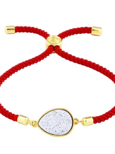 Red rope Silver Leather Geometric Minimalist Adjustable Bracelet