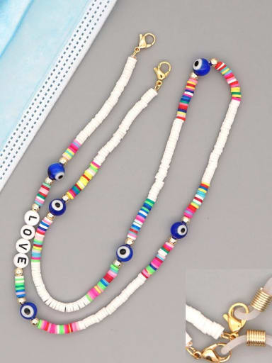 RT N200003B Stainless steel Glass  Bead Multi Color Acrylic Letter Bohemia Necklace