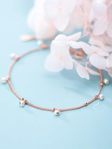 925 Sterling Silver Imitation Pearl Simple fashion chain Bracelet