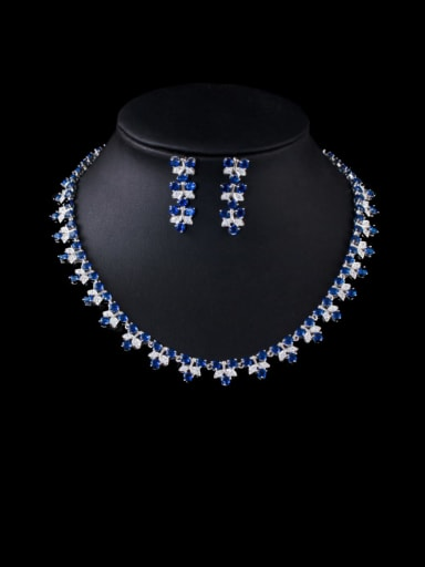 blue Brass Cubic Zirconia Luxury Flower Earring and Necklace Set
